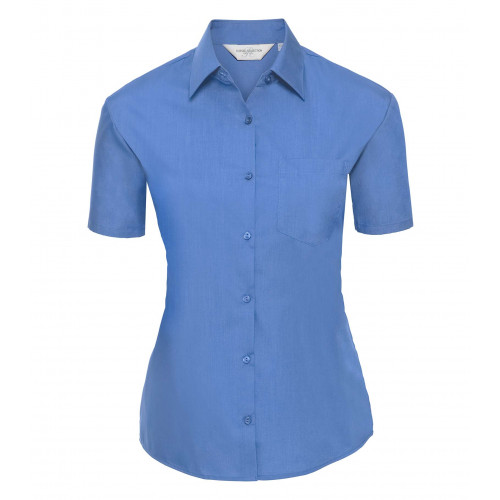 Russell Ladies´ Short Sleeve Polycotton Easy Care Poplin S Corporate Blue