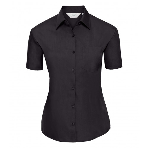 Russell Ladies´ Short Sleeve Polycotton Easy Care Poplin S Black