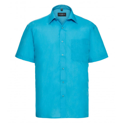 Russell Men´s Short Sleeve Polycotton Easy Care Poplin Sh Turquoise