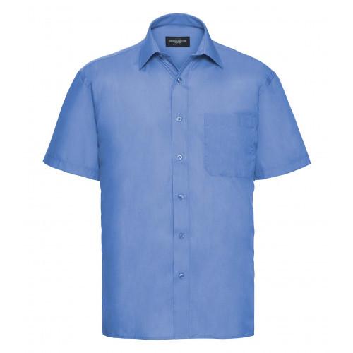 Russell Men´s Short Sleeve Polycotton Easy Care Poplin Sh Corporate Blue