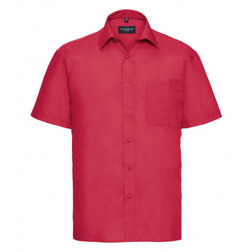 Russell Men´s Short Sleeve Polycotton Easy Care Poplin Sh Classic Red