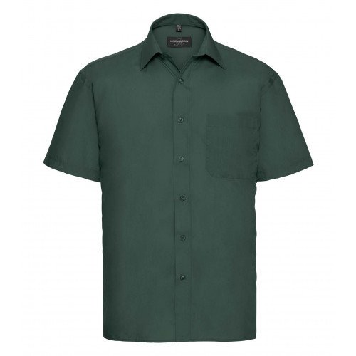 Russell Men´s Short Sleeve Polycotton Easy Care Poplin Sh Bottle Green