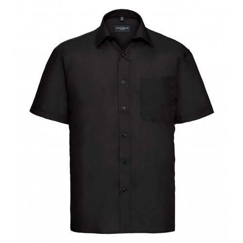 Russell Men´s Short Sleeve Polycotton Easy Care Poplin Sh Black