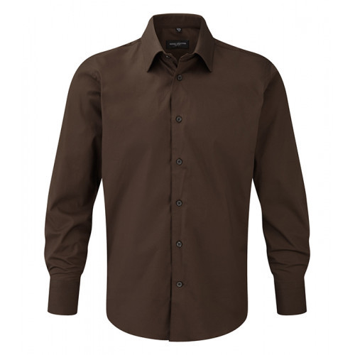 Russell Men LS Easy Care Fitted Chocolate