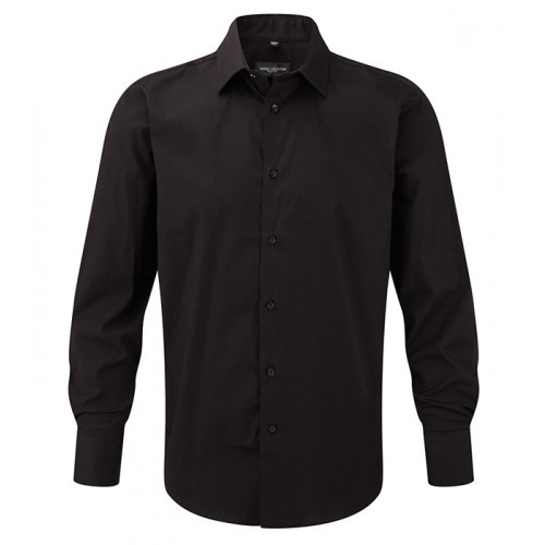Russell Men LS Easy Care Fitted Black