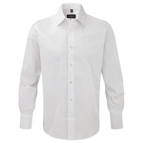 Russell Men LS Easy Care Fitted White