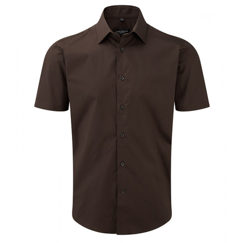 Russell Men Sh Sl Easy Care Fitted Chocolate