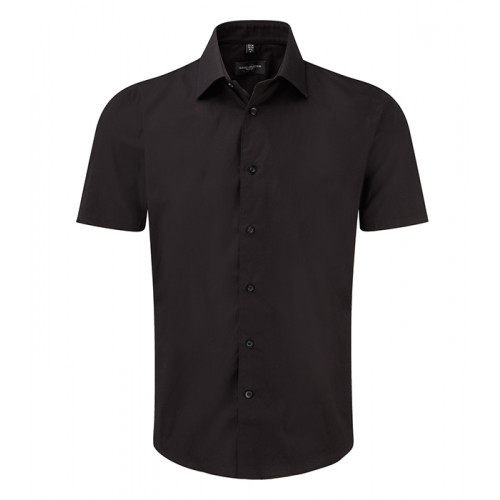Russell Men Sh Sl Easy Care Fitted Black