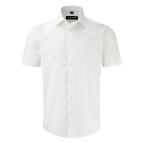 Russell Men Sh Sl Easy Care Fitted White