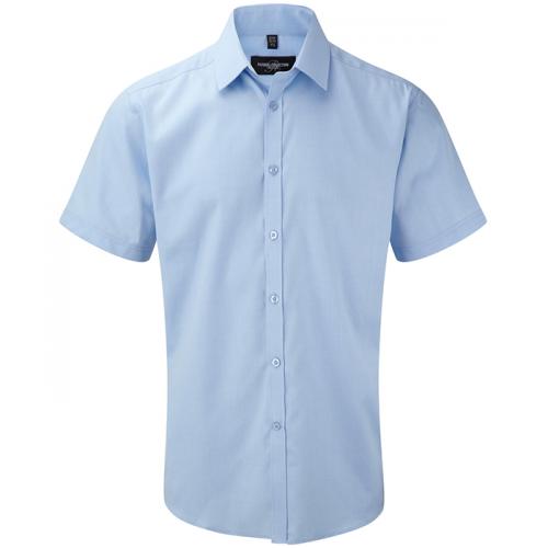 Russell Men´s S/S Herringbone Shirt Light Blue
