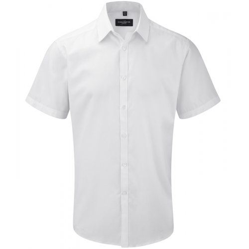 Russell Men´s S/S Herringbone Shirt White