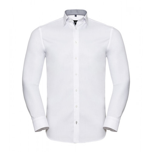 Russell Men´s LS Tailored Contrast Herringbone Shirt White/Silver/Convoy Grey