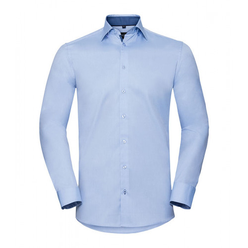 Russell Men´s LS Tailored Contrast Herringbone Shirt Light Blue/Mid Blue/Bright Navy