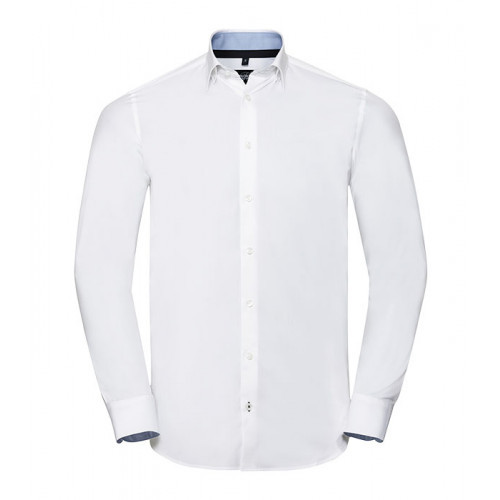 Russell Men´s LS Tailored Contrast Ulitmate Strech Shirt White/Oxford Blue/Bright Navy