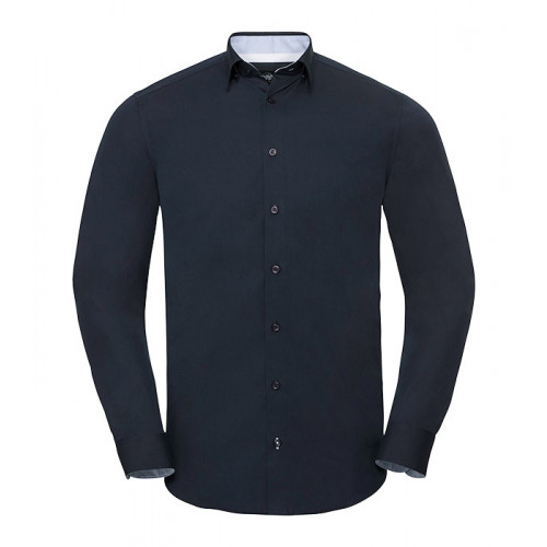 Russell Men´s LS Tailored Contrast Ulitmate Strech Shirt Bright Navy/Oxford Blue/White
