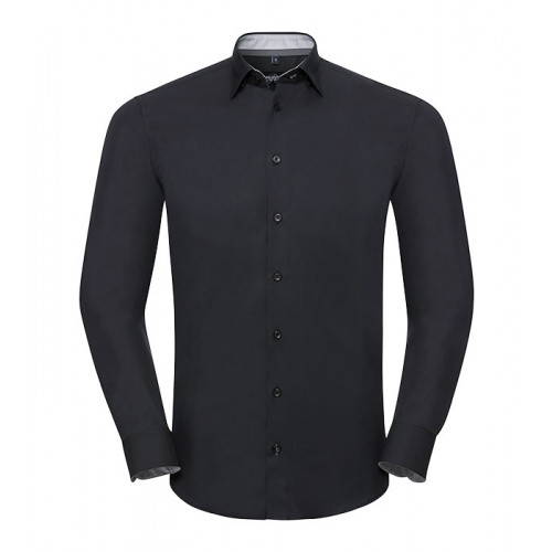 Russell Men´s LS Tailored Contrast Ulitmate Strech Shirt Black/Oxford Grey/Convoy Grey