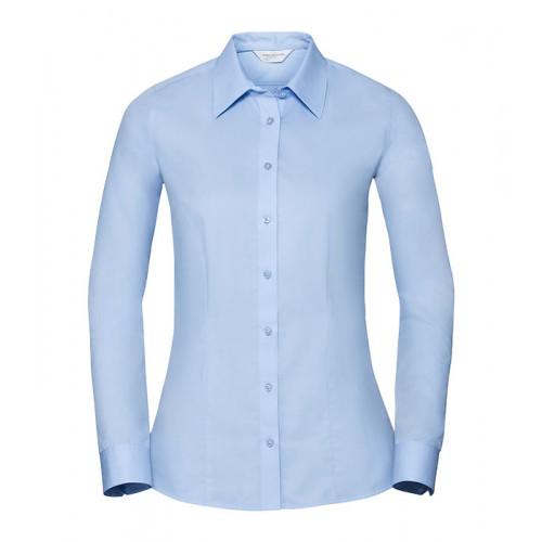 Russell Ladies LS Tailored Coolmax® Shirt Light Blue