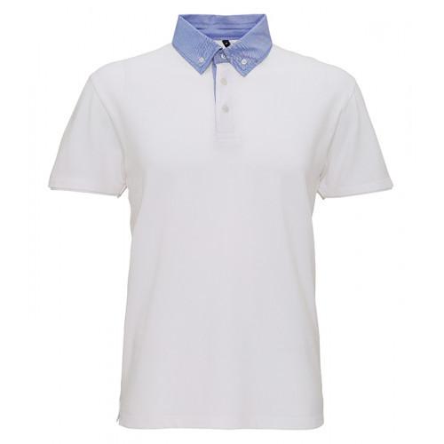 Asquith Men´s Chambray Button Down Collar Polo White/Denim