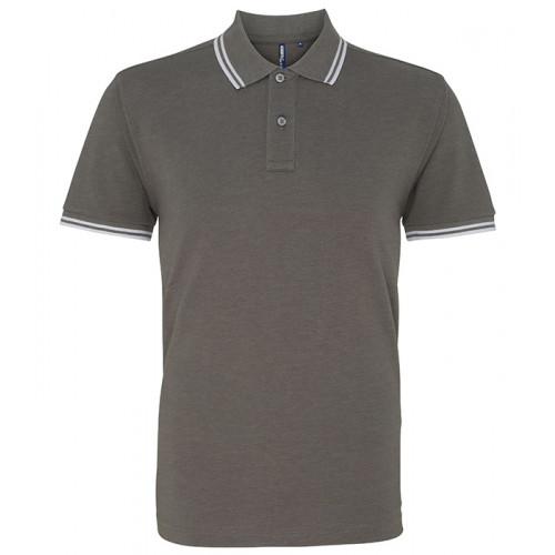 Asquith Mens Classic Fit Tipped Polo Charchoal/White