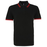 Asquith Mens Classic Fit Tipped Polo Black/Red