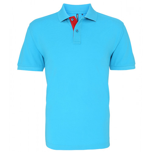 Asquith Mens Classic Fit Contrast Polo Turquoise/Red 6540