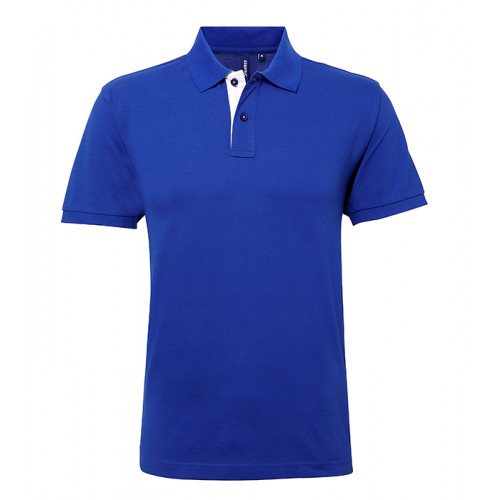 Asquith Mens Classic Fit Contrast Polo Royal/White