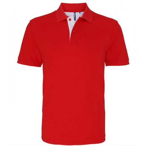 Asquith Mens Classic Fit Contrast Polo Classic Red/White
