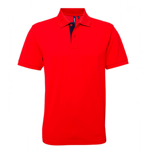 Asquith Mens Classic Fit Contrast Polo Red/Navy