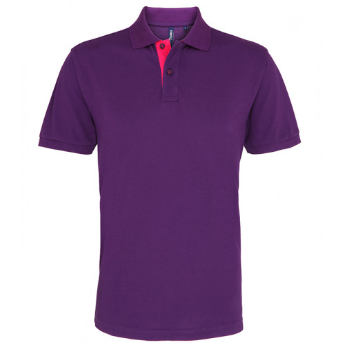 Asquith Mens Classic Fit Contrast Polo Purple/Pink