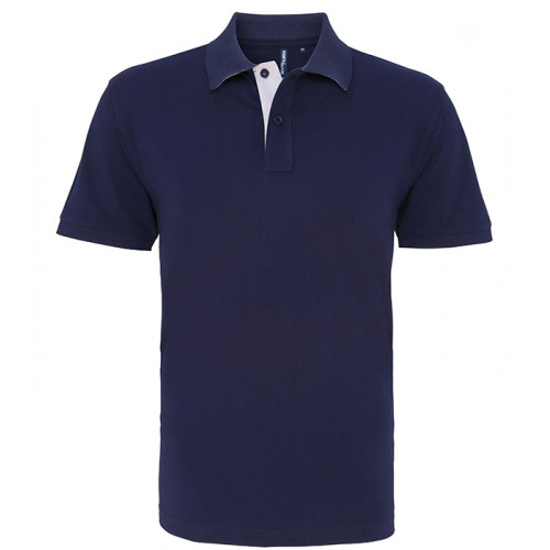 Asquith Mens Classic Fit Contrast Polo Navy/White
