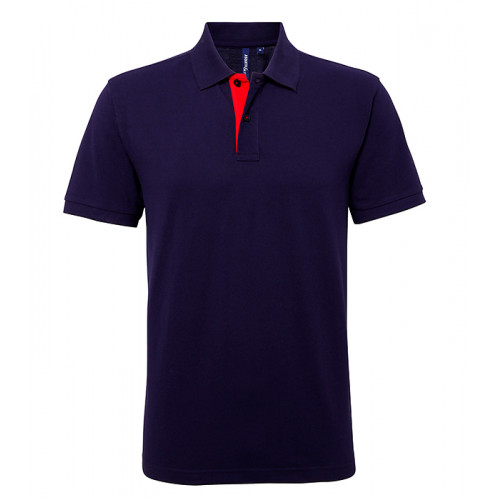 Asquith Mens Classic Fit Contrast Polo Navy/Red
