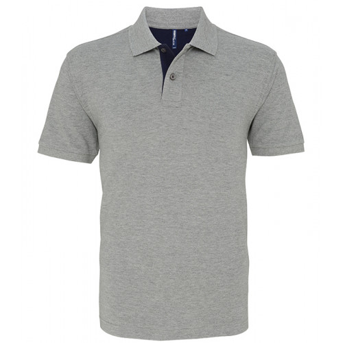 Asquith Mens Classic Fit Contrast Polo Heather/Navy