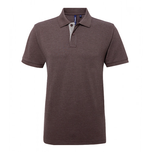 Asquith Mens Classic Fit Contrast Polo Charcoal/Heather Grey