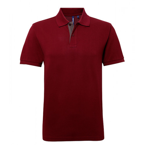 Asquith Mens Classic Fit Contrast Polo Burgundy/Charcoal