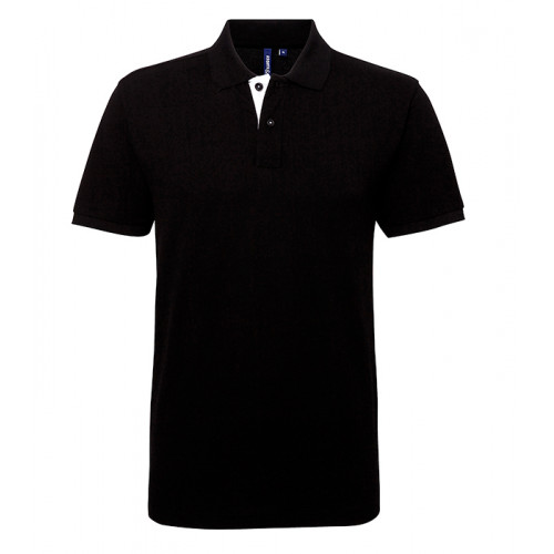 Asquith Mens Classic Fit Contrast Polo Black/White