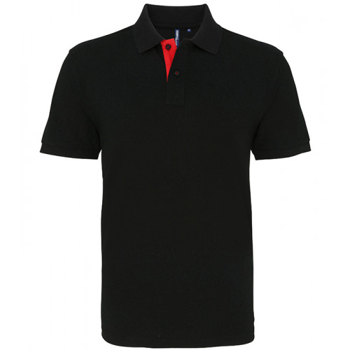 Asquith Mens Classic Fit Contrast Polo Black/Red