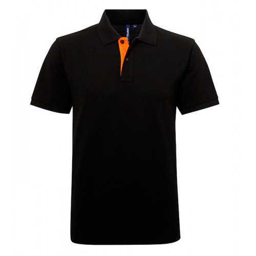 Asquith Mens Classic Fit Contrast Polo Black/Orange