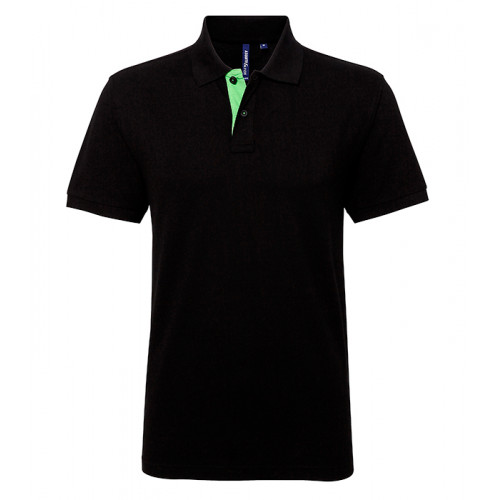 Asquith Mens Classic Fit Contrast Polo Black/Lime
