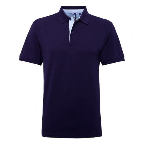 Asquith Cotton polo with Oxford fabric insert Navy/Sky