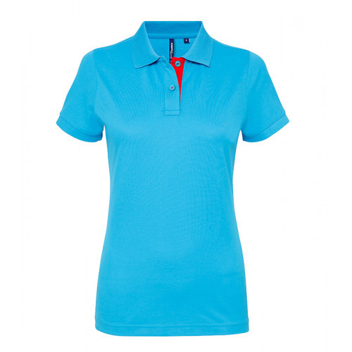 Asquith Women's contrast polo Turquoise/Red 6540