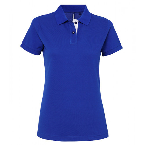 Asquith Women's contrast polo Royal/White