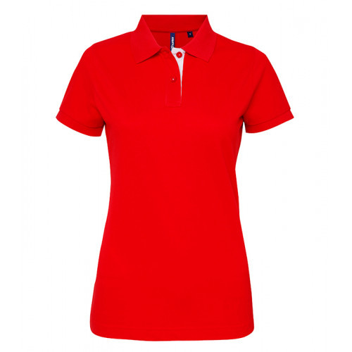 Asquith Women's contrast polo Red/White