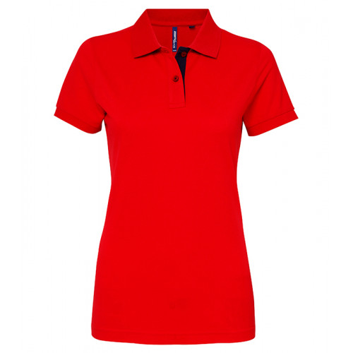 Asquith Women's contrast polo Red/Navy