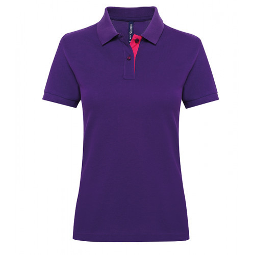 Asquith Women's contrast polo Purple/Pink