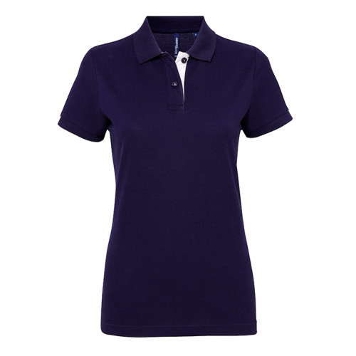 Asquith Women's contrast polo Navy/White