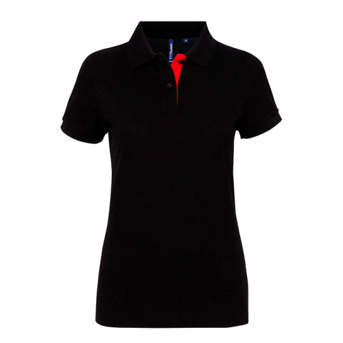 Asquith Women's contrast polo Black/Red