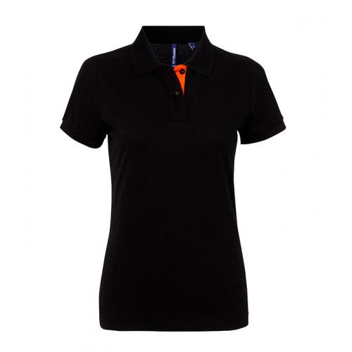 Asquith Women's contrast polo Black/Orange