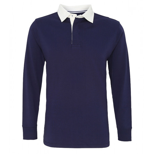 Asquith Mens Classic Fit Long Sleeve Vintage Rugby Navy