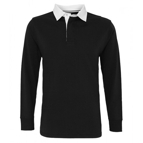 Asquith Mens Classic Fit Long Sleeve Vintage Rugby Black