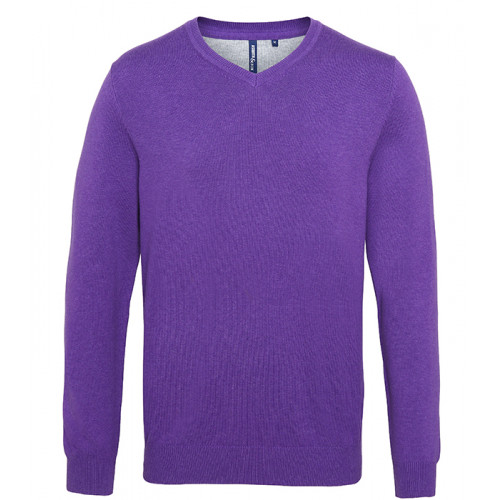 Asquith Mens Cotton Blend V-neck Sweater Purple Heather